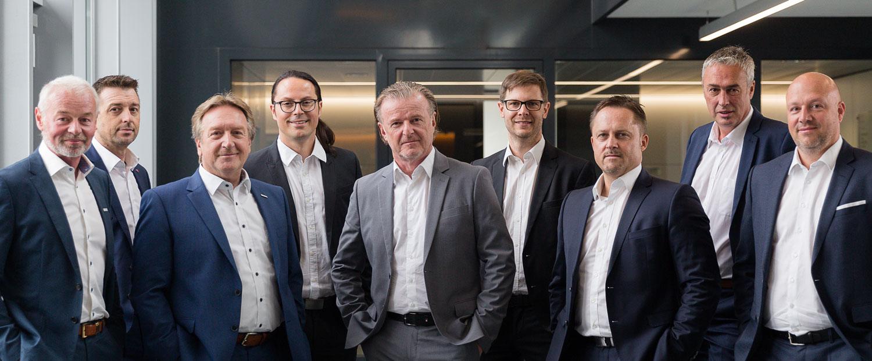 Vertriebs Team der LINZ AG TELEKOM. Christoph Wögerer, Kurt Brandstätter, Alois Schauer, Hannes Breinesberger, Stefan Affenzeller, Wolfgang Puck, Harald Reischl