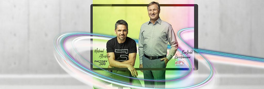 Drei Kunden von der LINZ AG TELEKOM stehen vor einem Tablet-Rahmen mit angedeuteten Glasfasern.