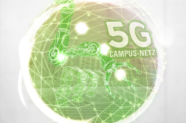 """Grüne Kugel mit der Aufschrift """"5G-Campus-Netz"""""""